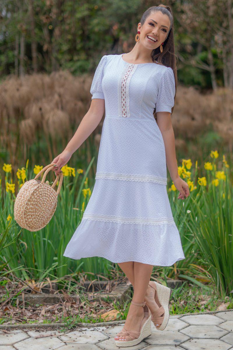 Vestido Luciana Pais Laise com Elastano Branco Detalhes Renda 93158