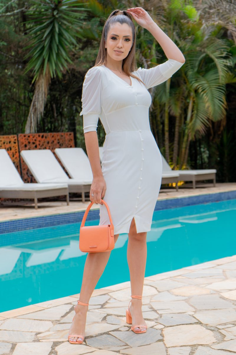 Vestido Luciana Pais Malha Canelada Manga em Tule Branco 93171