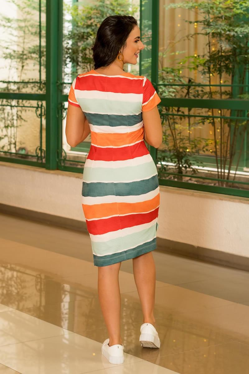 Vestido Luciana Pais Malha Canelada Transpasse Fixo 92918 Estampado