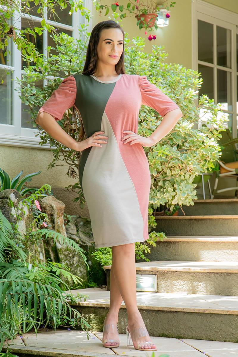 Vestido Luciana Pais Malha Collor Block  92980