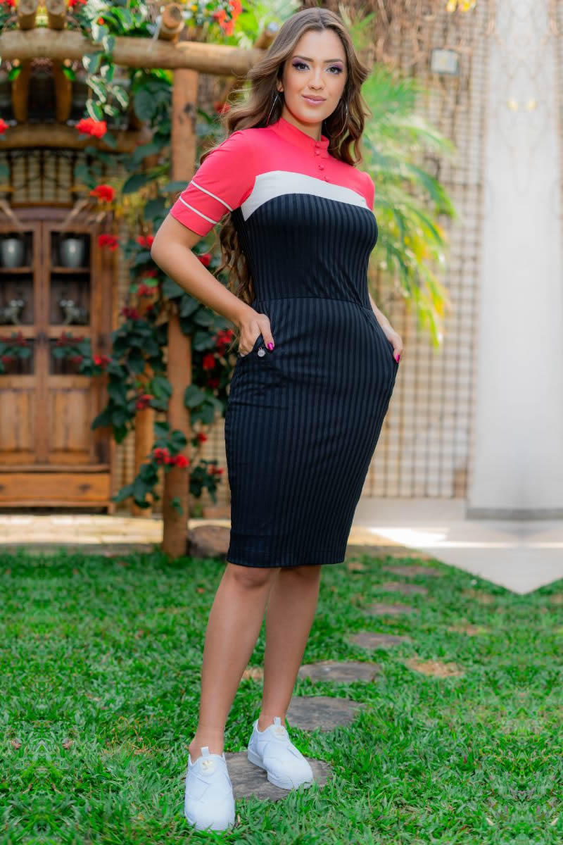 Vestido Luciana Pais Malha Collor Block com Bolsos 93122