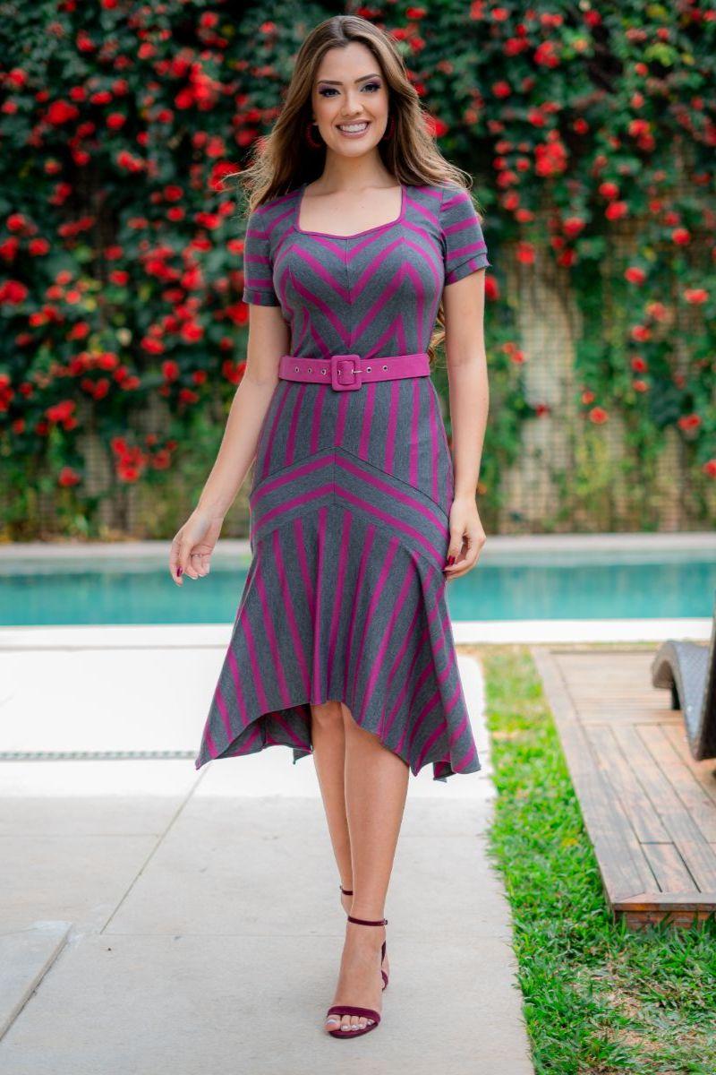 Vestido Luciana Pais Malha Crepe com Cinto 93103
