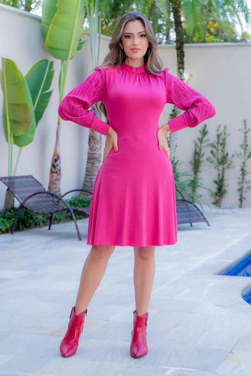 Vestido Luciana Pais Malha Crepe com Manga Crepeplissado 93044