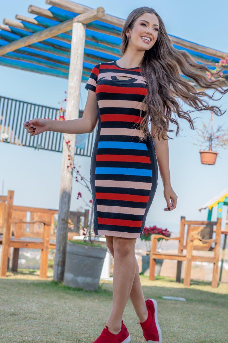 Vestido Luciana Pais Malha Crepe Listrado 93152