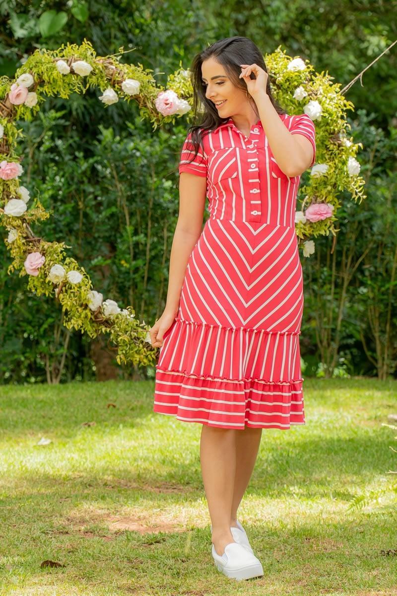 Vestido Luciana Pais Malha Crepe Listrado Vermelho 92939