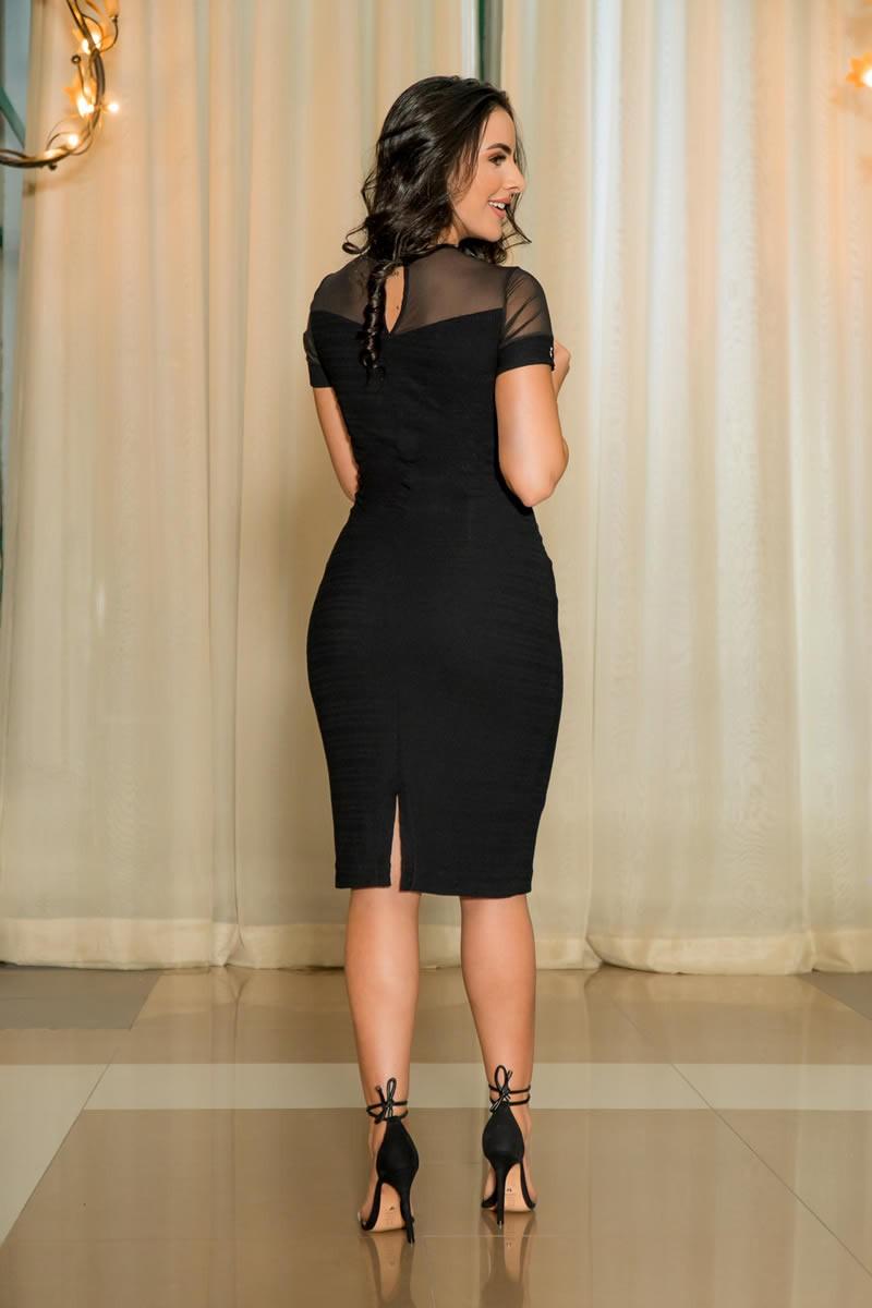 Vestido Luciana Pais Malha Recortes em Tule Preto 92908