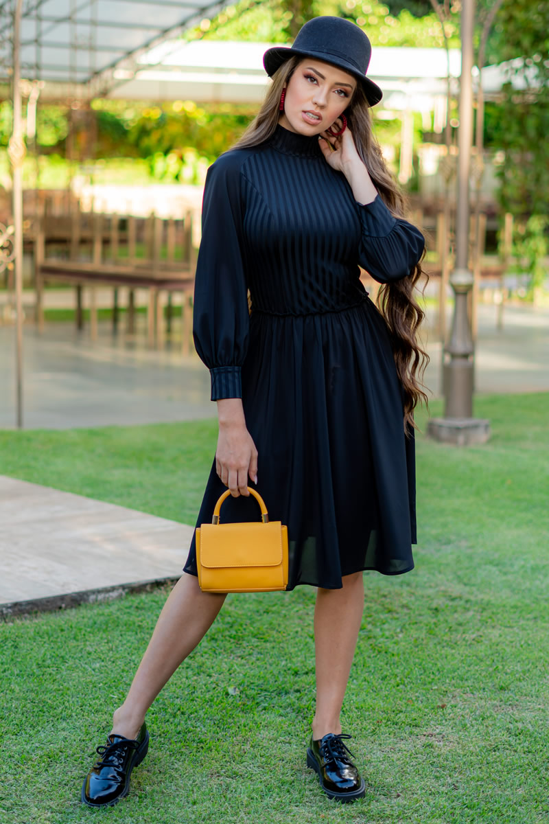 Vestido Luciana Pais Preto em Crepe Musseline 93016