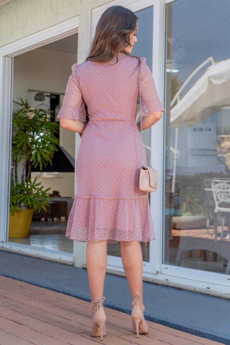 Vestido Luciana Pais Rose em Tule Poá Detalhes Renda 93116