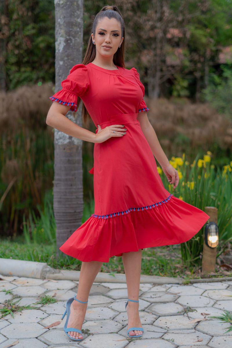 Vestido Luciana Pais Viscose com Elastano Vermelho 93159