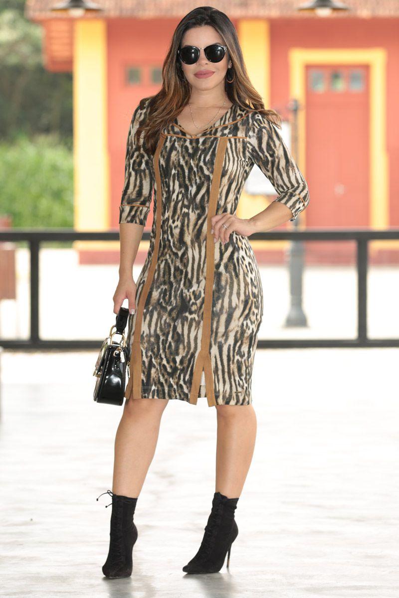 Vestido Malha Animal Print e Forro Kauly Moda Evangélica 2544