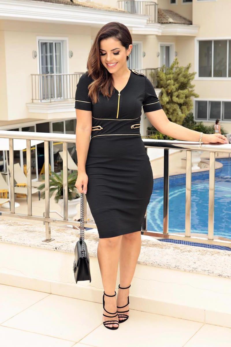 Vestido Malha Canelada com Vivos Dourados Luciana Pais 92656