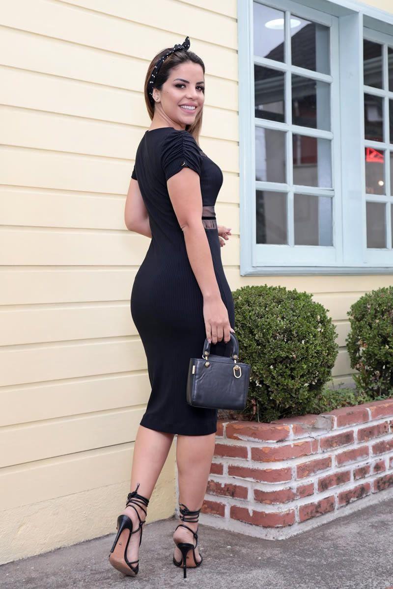 Vestido Malha Canelada Detalhe em Organza Luciana Pais 92565