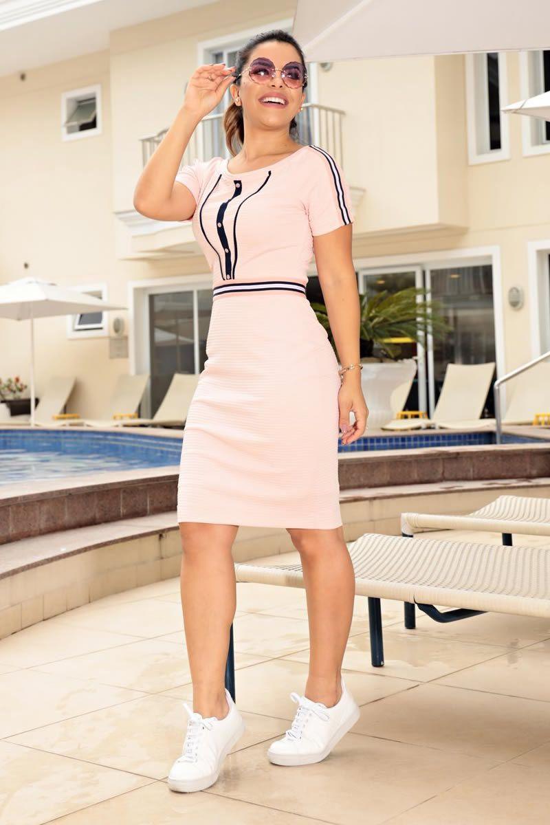 Vestido Malha Canelada Detalhes Frontais Luciana Pais 92657