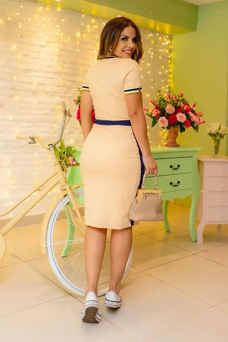 Vestido Malha Canelada Detalhes  Luciana Pais 92695