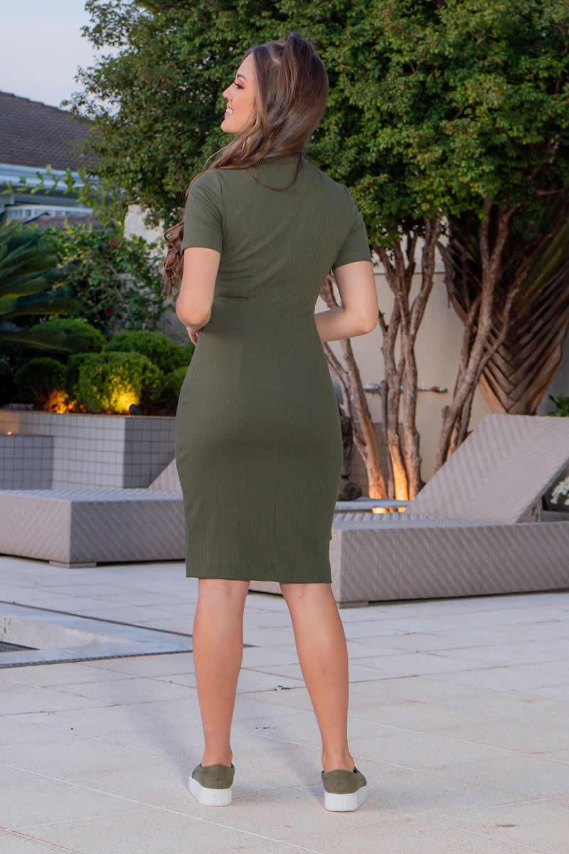 Vestido Malha Canelada  Verde Luciana Pais 93050