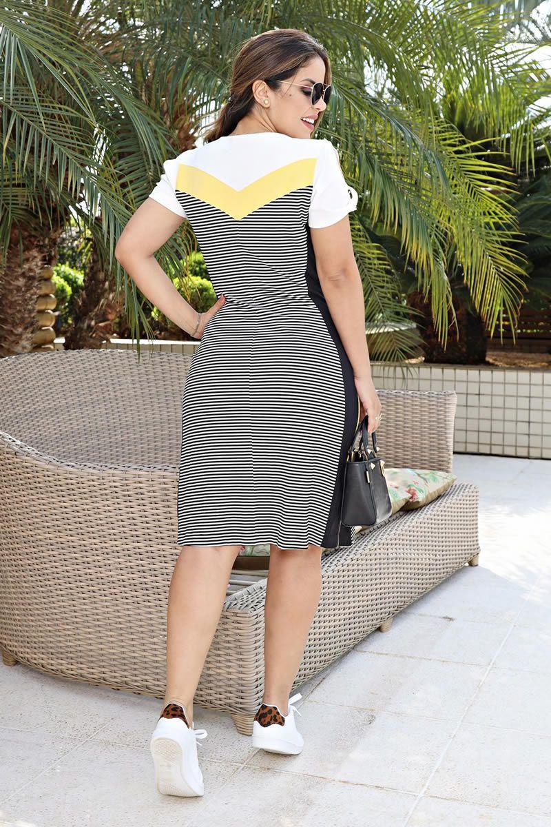 Vestido malha collor block forrado Luciana Pais 92552
