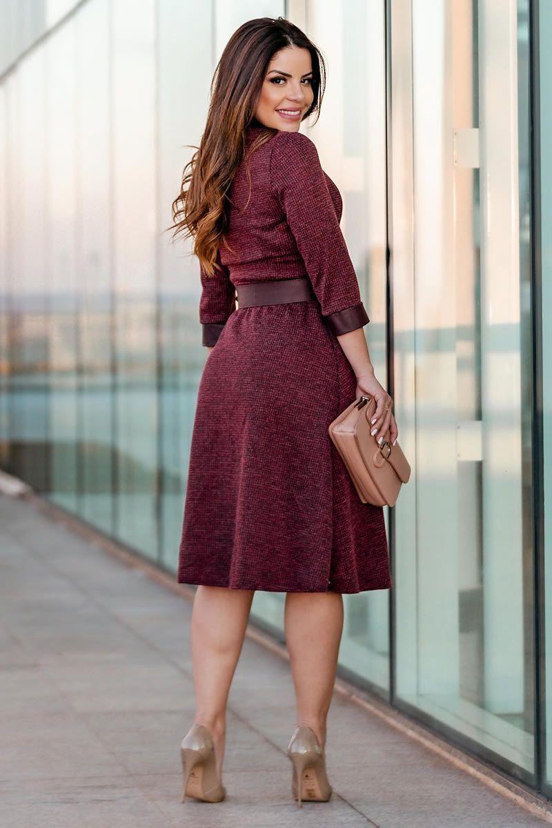 Vestido Malha Crepe Cinto Couro Kauly 2852 Vermelho