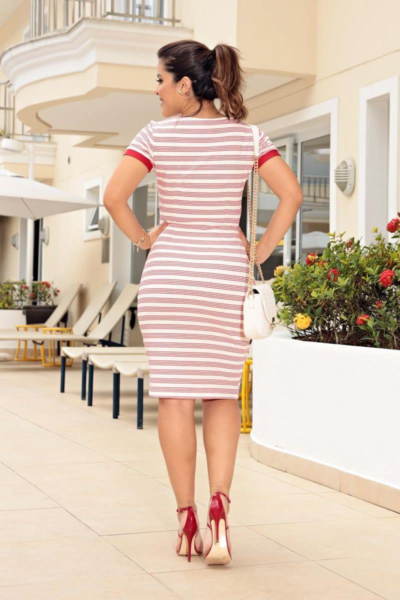 Vestido Malha Crepe Leve Listrada com Cinto Luciana Pais 92643