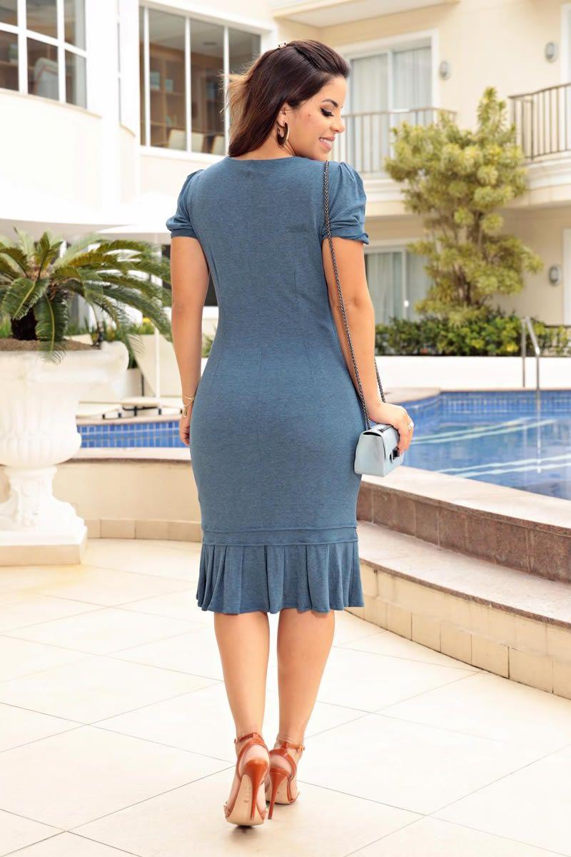 Vestido Malha Detalhes Botões Frontais Luciana Pais 92660