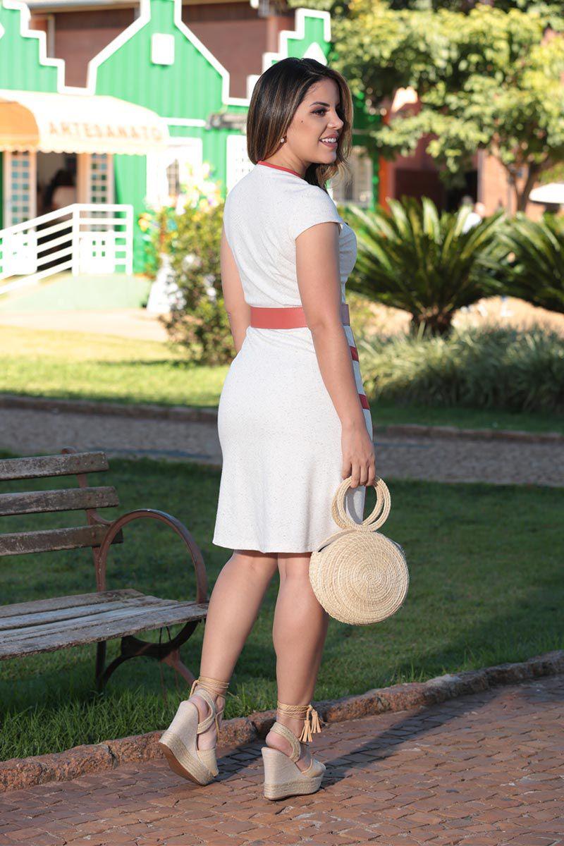 Vestido Malha Linho Mescla Compose com Forro Luciana Pais 92502