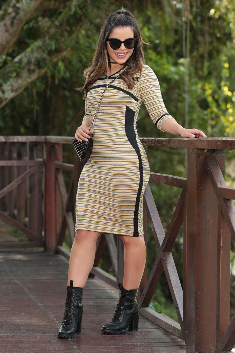 Vestido Malha Listrada com Forro Luciana Pais 92480