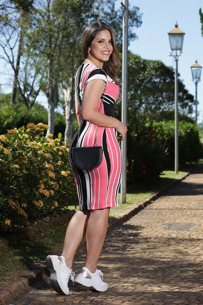 Vestido Malha Listrada com Forro Luciana Pais 92490