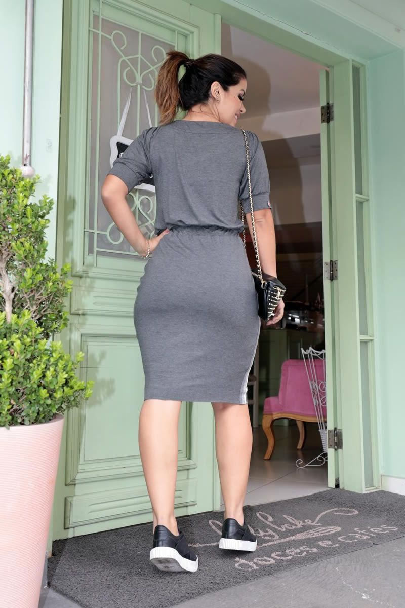 Vestido Malha Mescla Fita de Lurex Lateral Luciana Pais 92634
