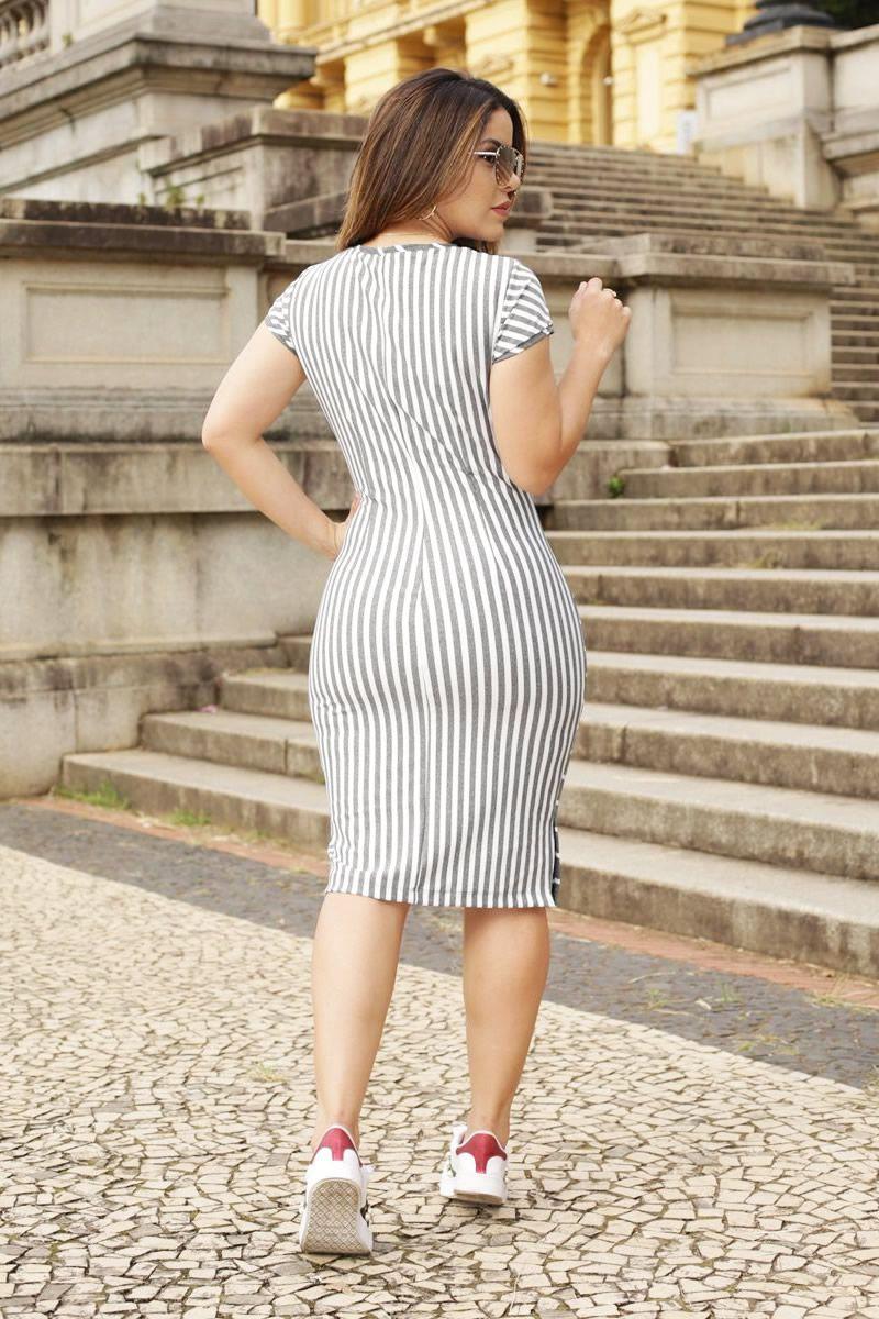 Vestido Malha Mescla Power Listrado Detalhe Animal Print Luciana Pais 92512
