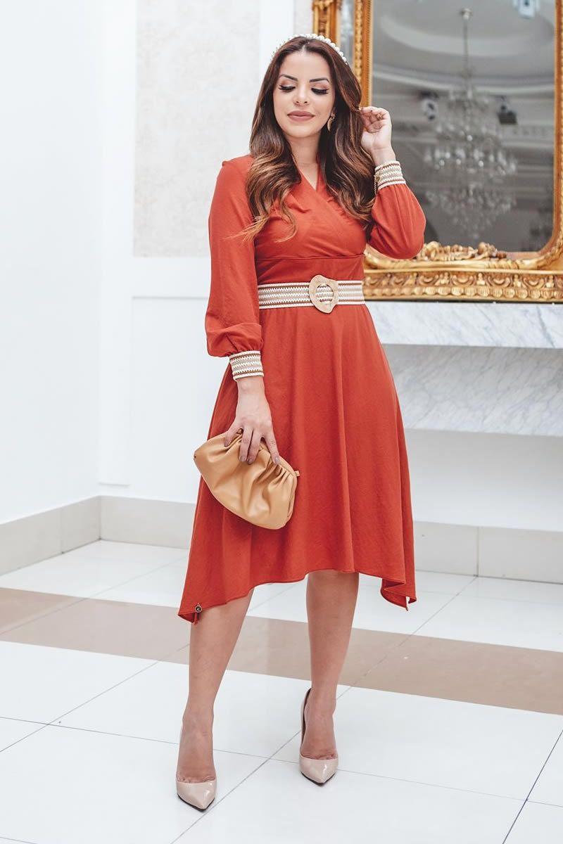 Vestido Malha Lady Like Cinto Kauly 2817 Vermelho