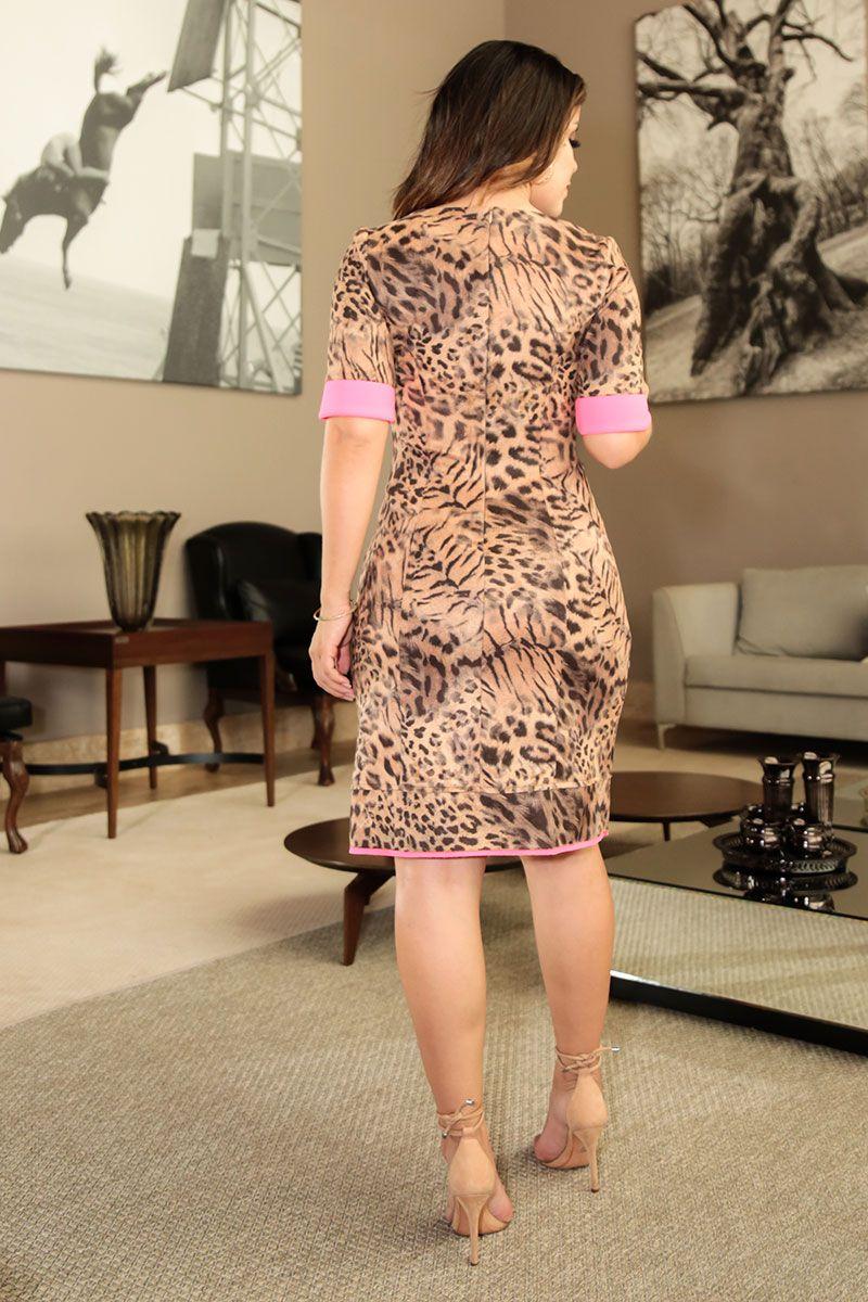 Vestido Malha Suede Estampada Detalhe Neon Luciana Pais 92408