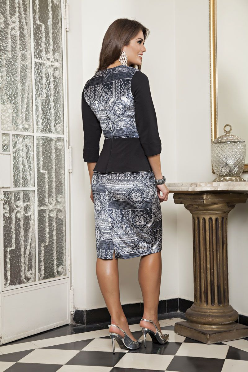 Vestido Malha Veludo Estampada com Forro Detalhe Piquet Kauly 2168