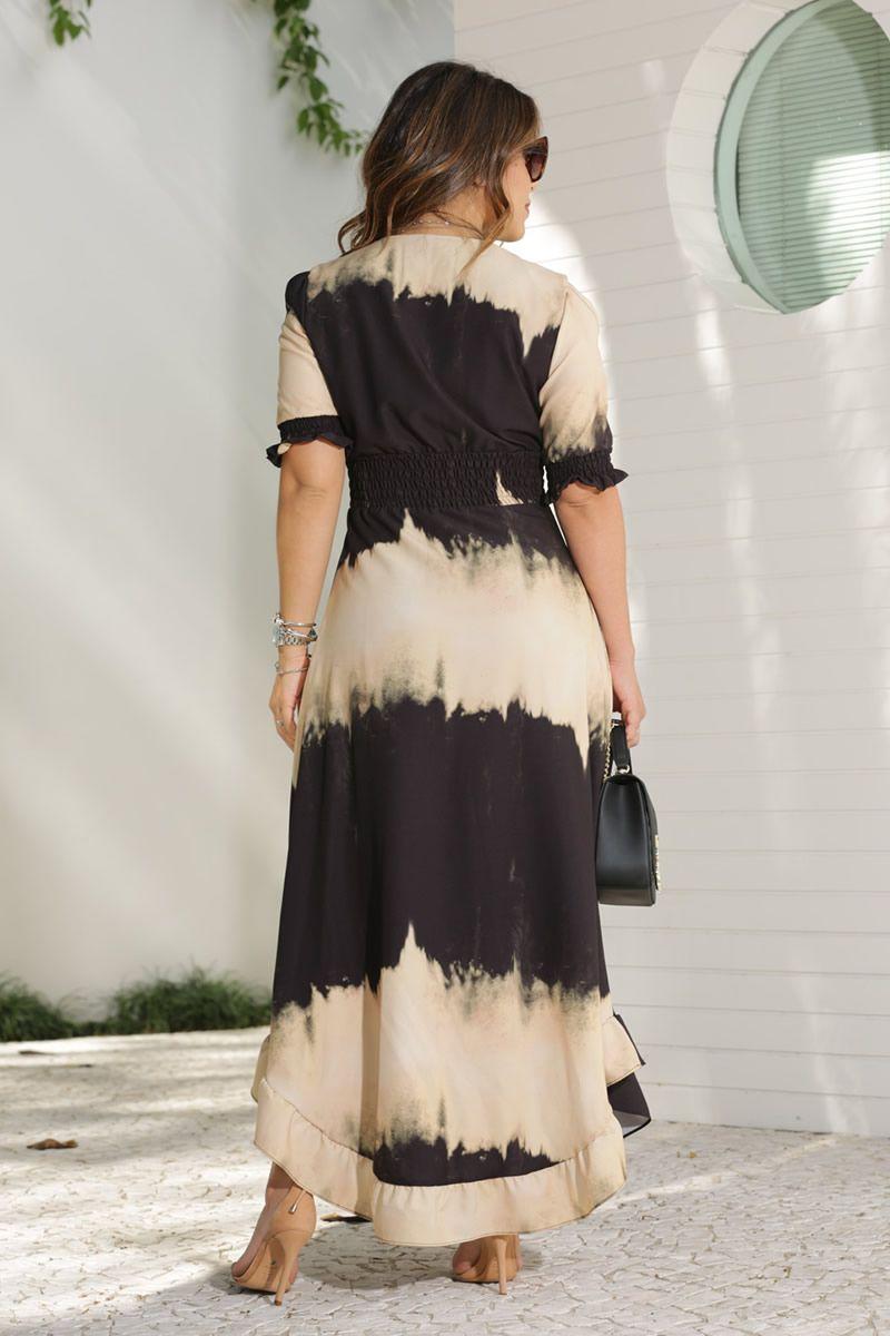 Vestido Maxi Crepe com Elastano Estampa Tay Day Kauly Moda Evangélica 2607