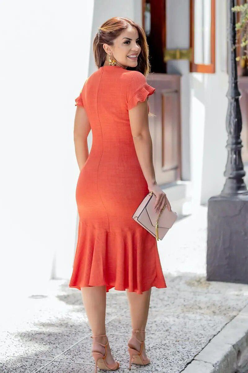 Vestido Midi em Linho Recortes Babados Kauly 2768