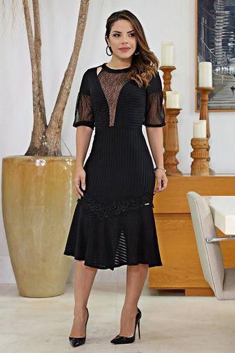 Vestido Moda Evangélica Malha Devorê Kauly 2609