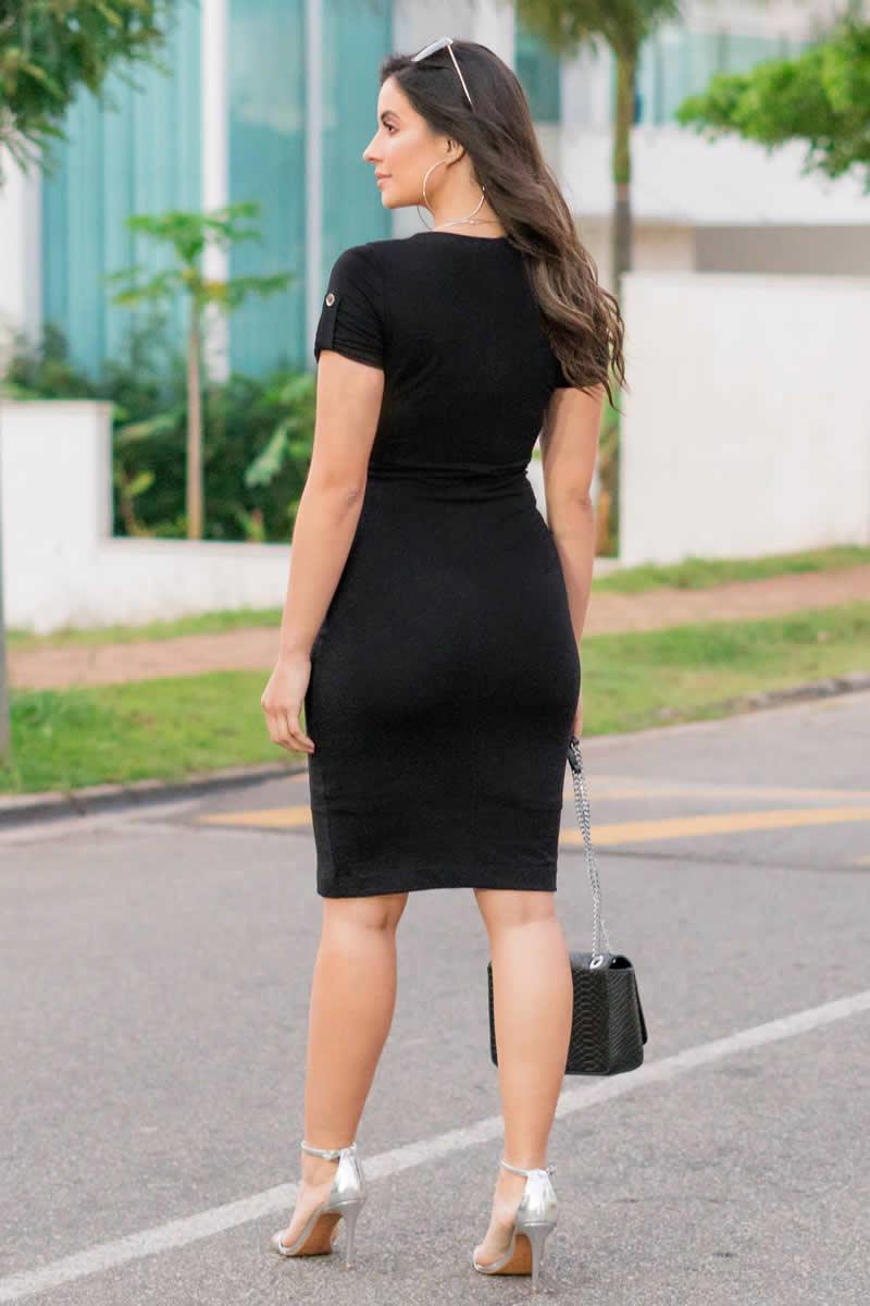 Vestido Moletom Fivela e Recorte Luciana Pais 92871 Preto