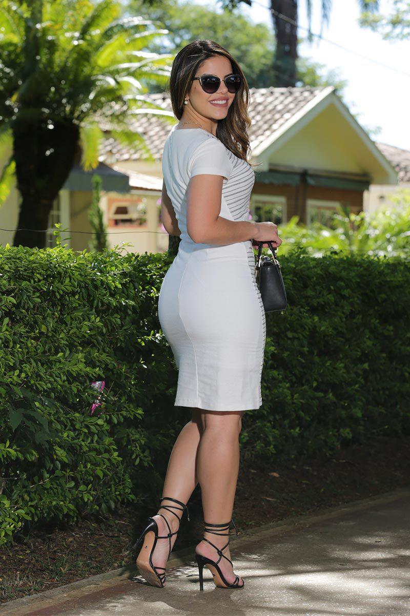 Vestido Moletom Risca de Giz com Forro Luciana Pais 92496