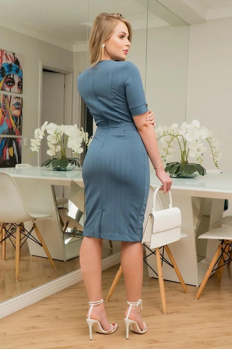 Vestido Montaria Classica com Fivela Kauly 2920 Azul
