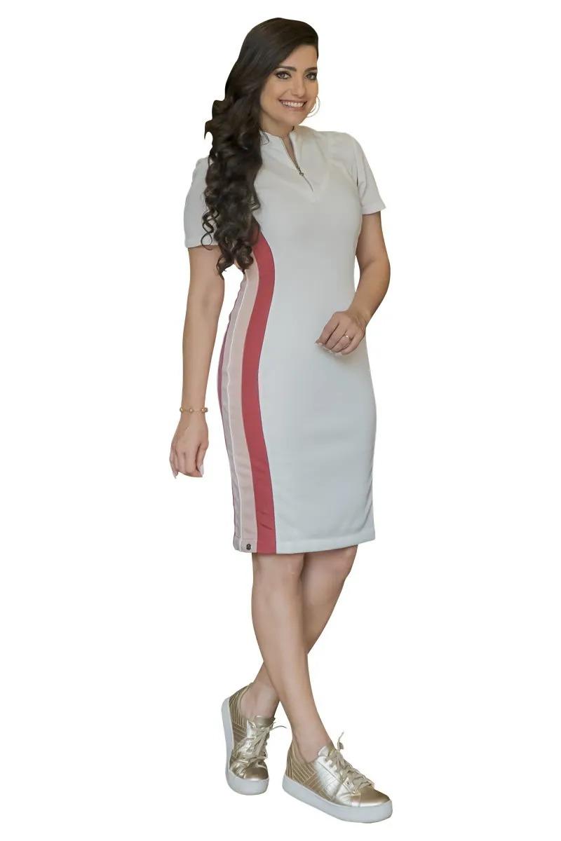 Vestido Montaria com Brilho Luciana Pais 92832 Off White