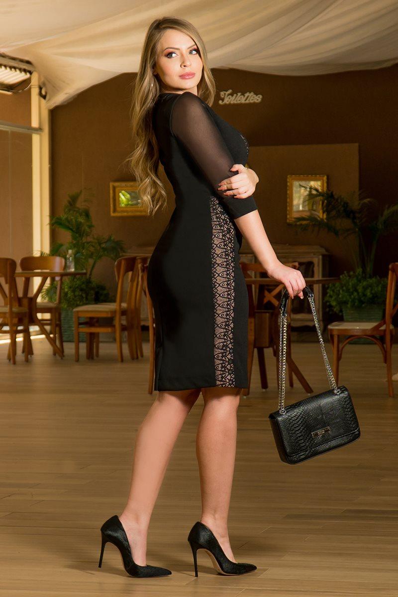Vestido Montaria com Recortes em Renda Forrada Kauly 2888 Preto
