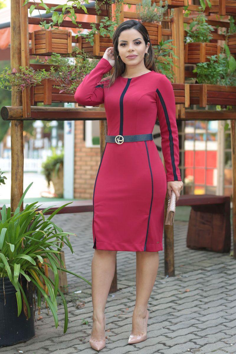 Vestido Montaria com Vies de Cetim Cinto e Botões Kauly 2521