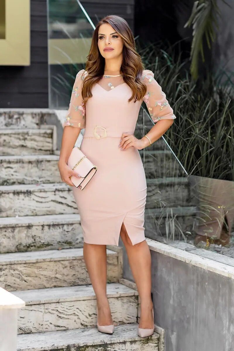 Vestido Montaria Recortes Tule Bordado Kauly 2766