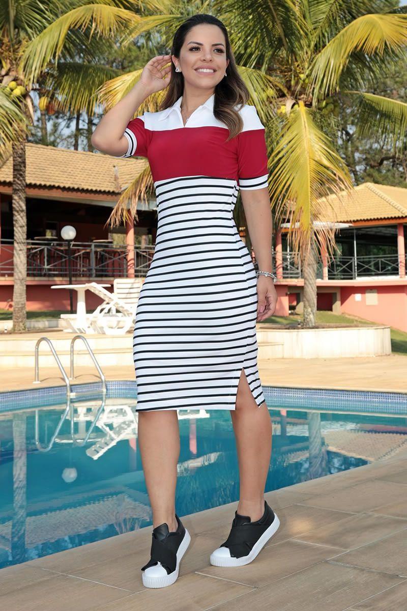 Vestido Navy Malha Canelada Listrada com Forro Luciana Pais 92597