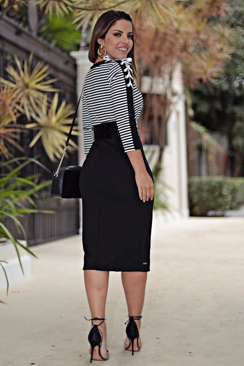 Vestido P&b Malha Crepe Moda Evangélica Kauly 2648