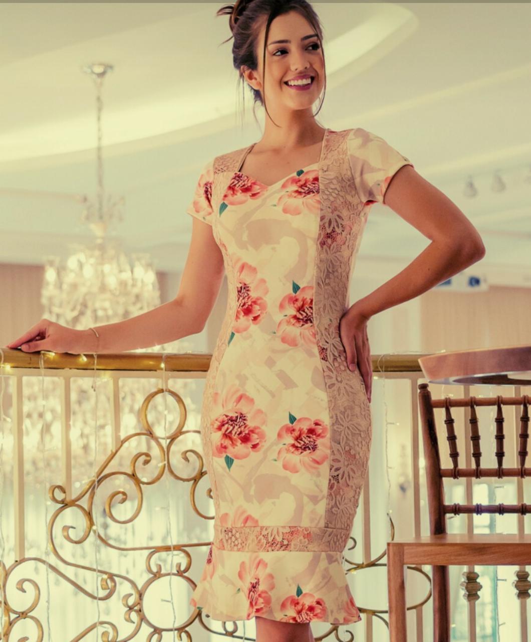 Vestido Peplum e Renda Clara Maria Amore 2941MA