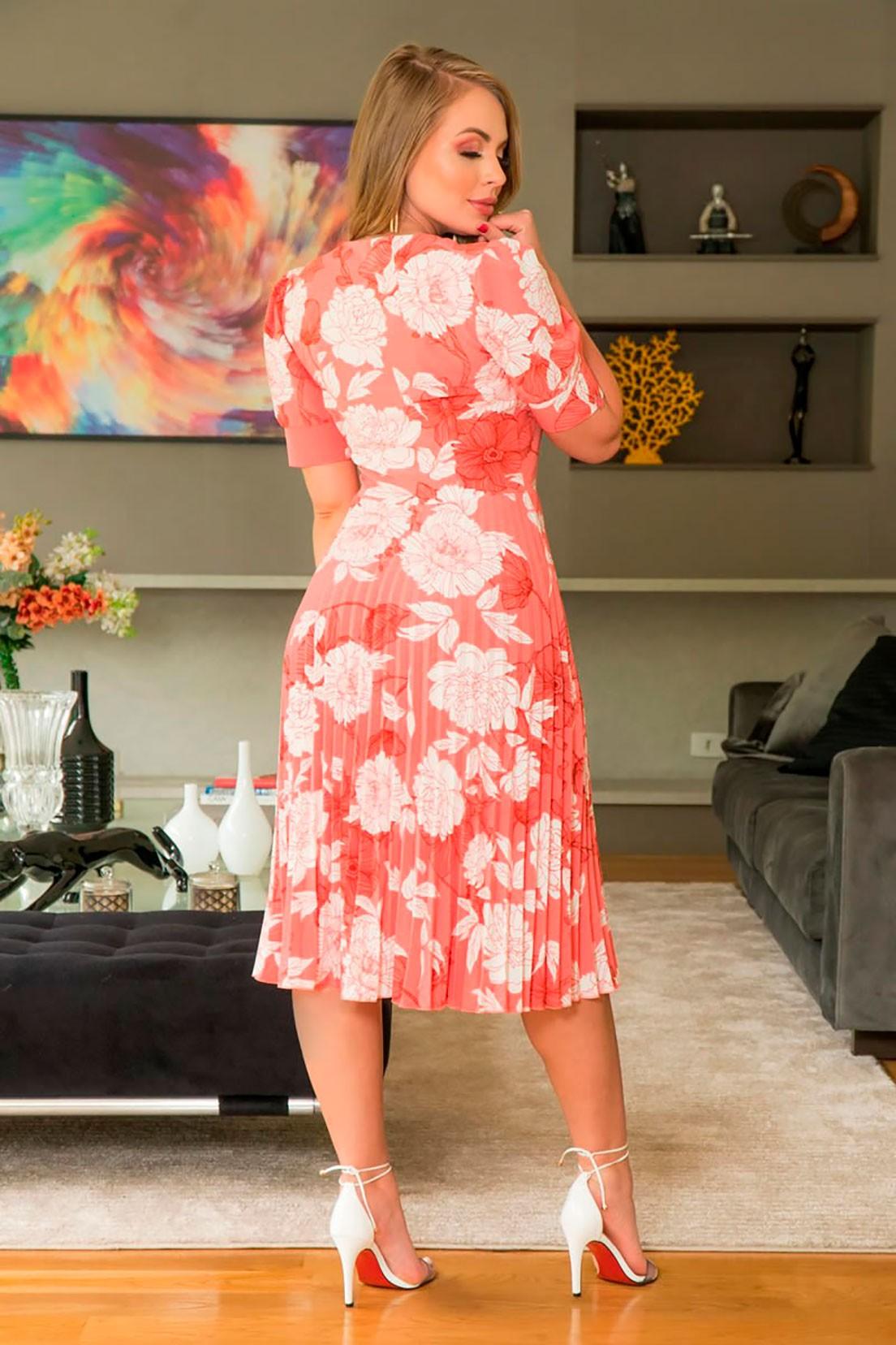 Vestido Plissado Crepe Estampado Detalhe Renda Kauly 2954