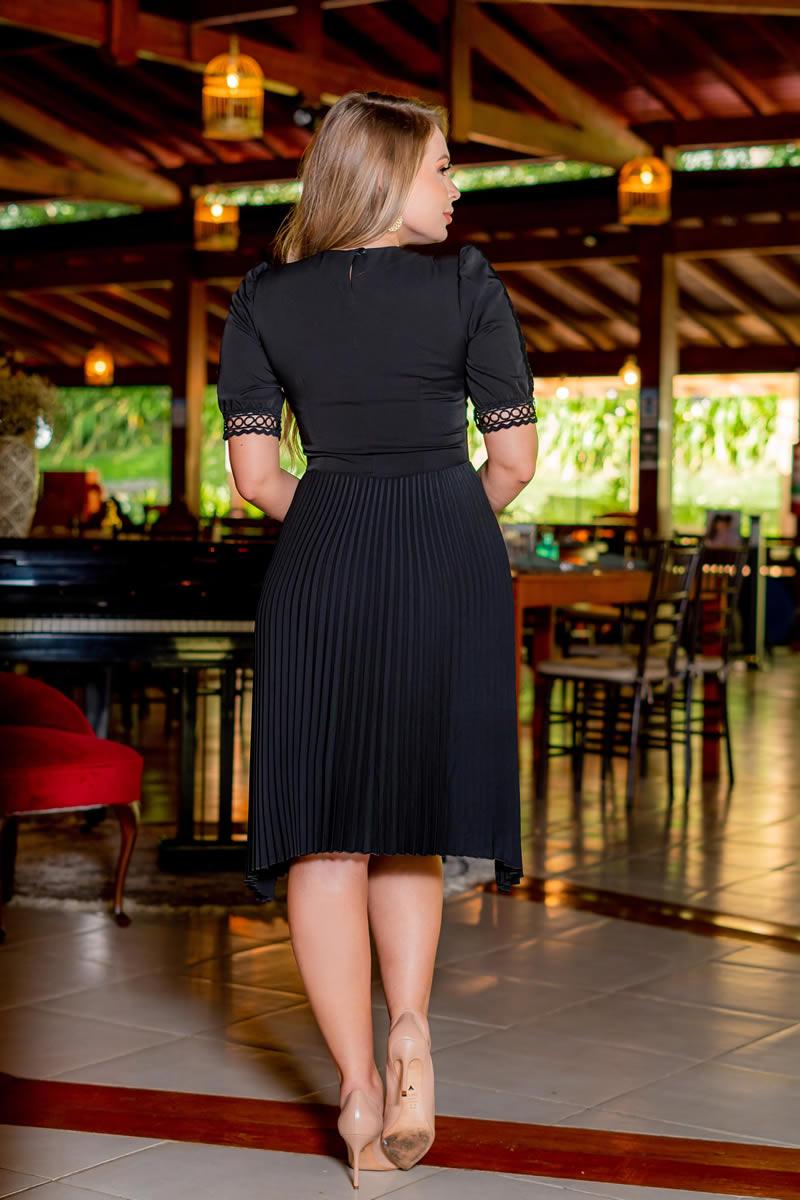 Vestido Plissado Kauly Alfaiataria  Zíper na Lateral 3078