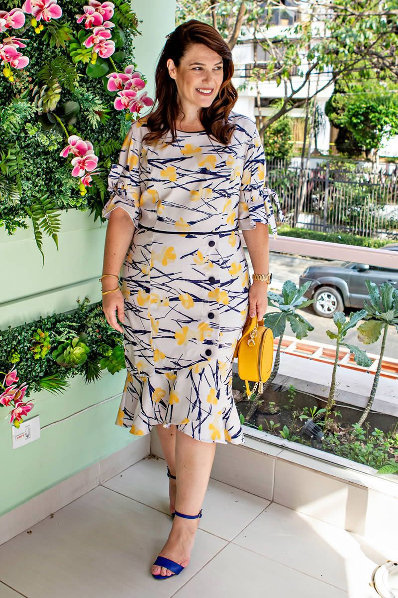 Vestido Plus Size Bengaline Estampada Kauly 2674