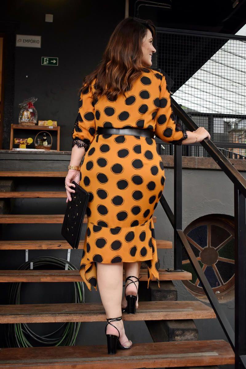 Vestido Plus Size Crepe Renda Chantilly Assimétrica Kauly 2782