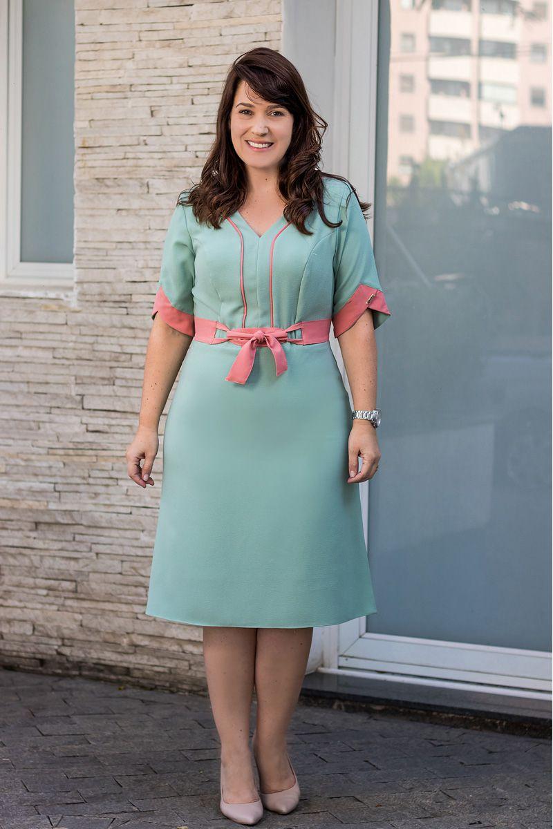 Vestido Plus Size Crepe com Strech Bicolor Kauly Moda Evangélica 2579