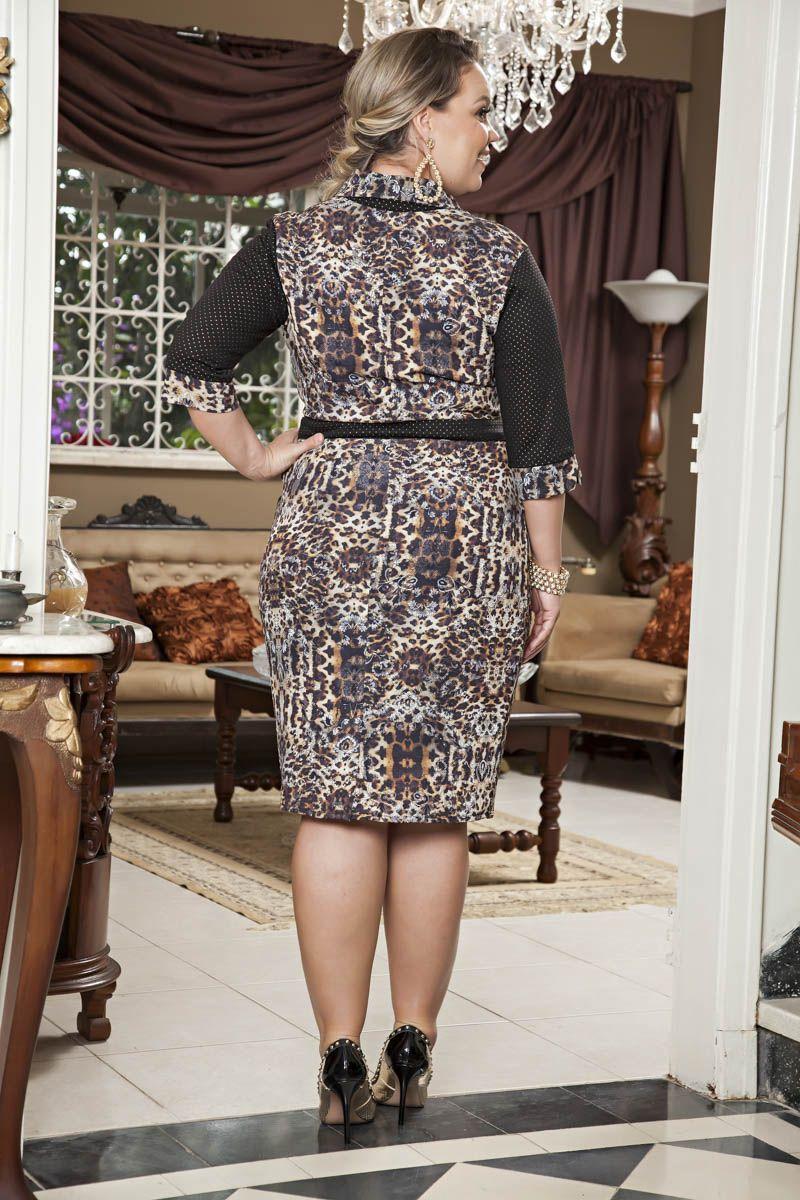 Vestido Plus Size Crepe Kauly 2194